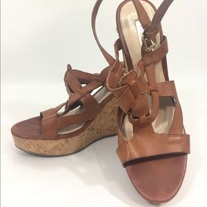 GUESS Womens Brown Wedge Sandal Cork Heel